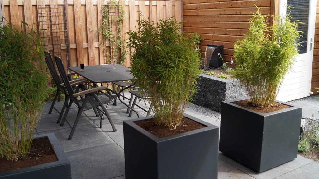 tuinontwerp met tuinkamer en vlonder