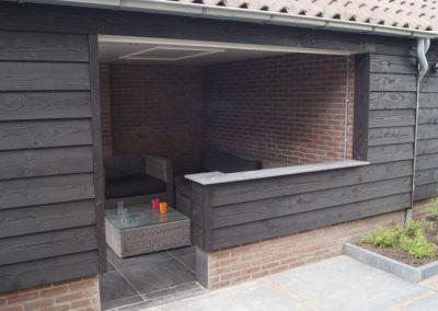 tuinontwerp met overkapping veranda buitenkamer