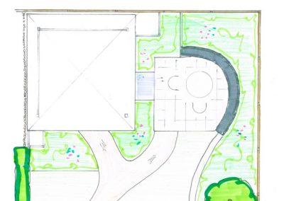 tuinontwerp met ronde lijnen stapelmuur en zitrand
